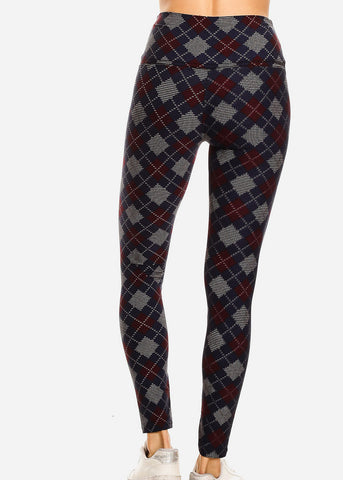 Image of Activewear Navy & Burgundy Printed Leggings