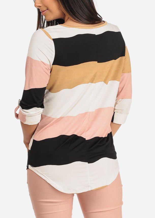 Mauve Multicolor Striped V Neck Blouse