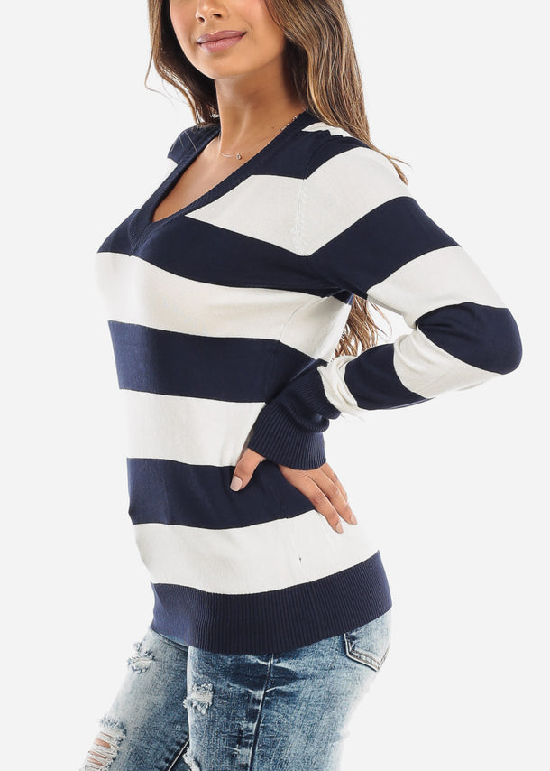 Navy & White Stripe V-Neck Pullover