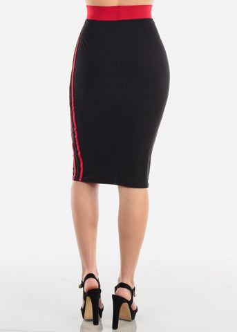 Side Stripes Black Midi Skirt