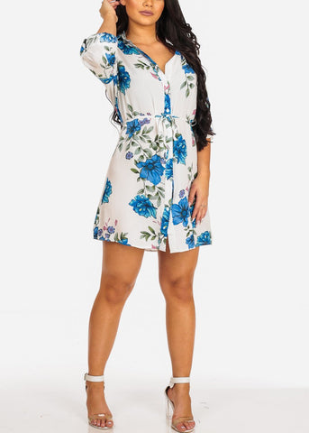 Cute Casual Lightweight White Floral Print Dress W Tie Belt