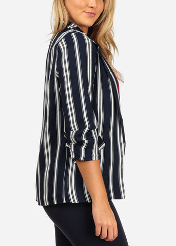 Image of 3/4 Sleeve Navy Striped Blazer