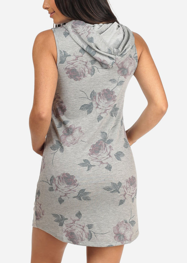 Floral Grey Sleeveless Hooded Dress