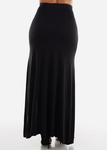 Image of Front Slits Black Maxi Skirt
