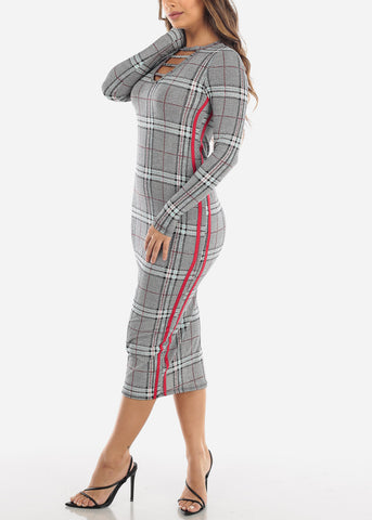 Image of Strappy Plaid Print Midi Dress
