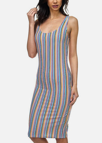 Multicolor Striped Bodycon Midi Dress