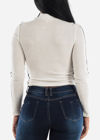 Neck Zipped Long Sleeve White Top