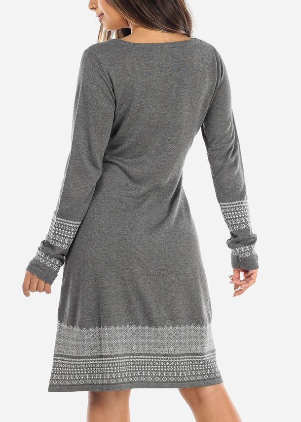 Printed Hem Charcoal Long Sleeve Sweater Dress