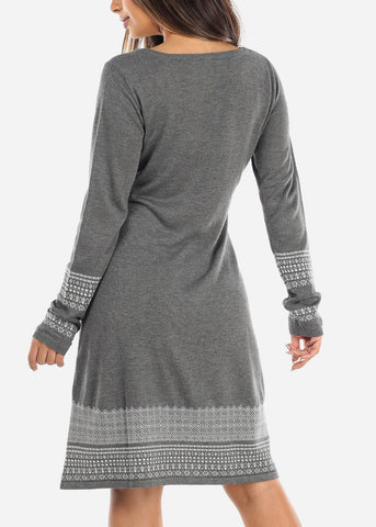 Printed Hem Charcoal Sweater Dress