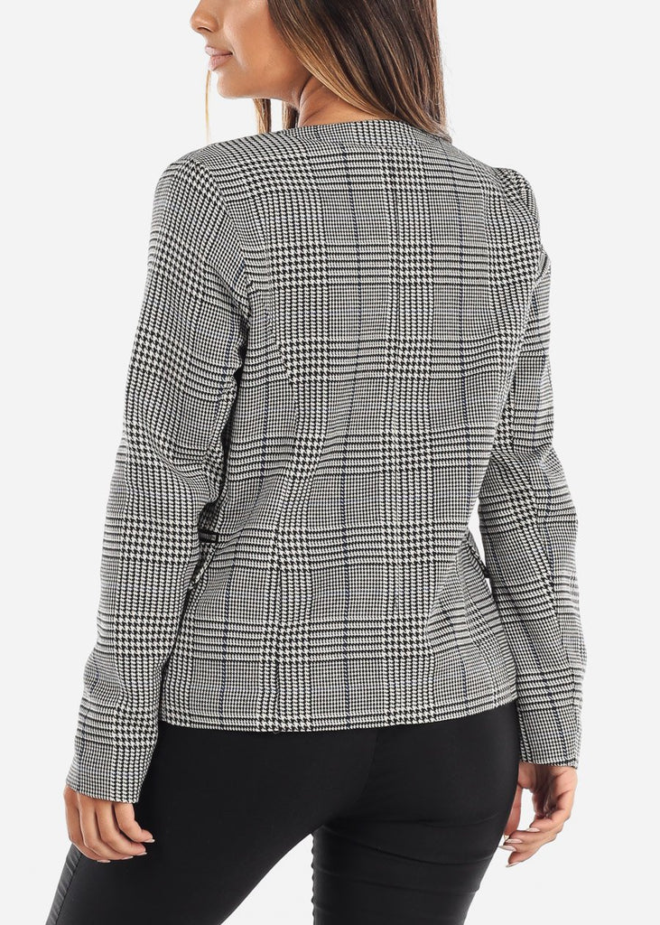 Open Plaid Blazer with Zipper Pockets