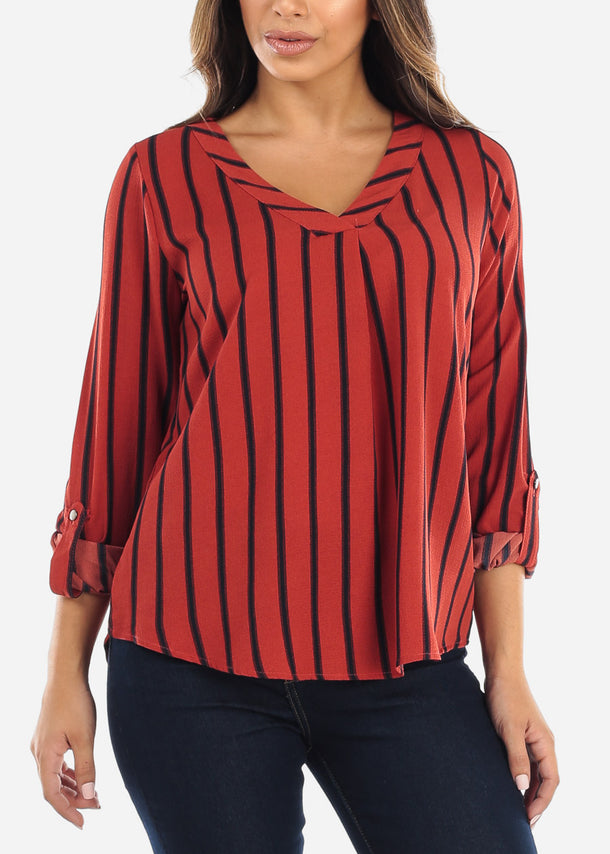 Brick Striped V-Neck Blouse