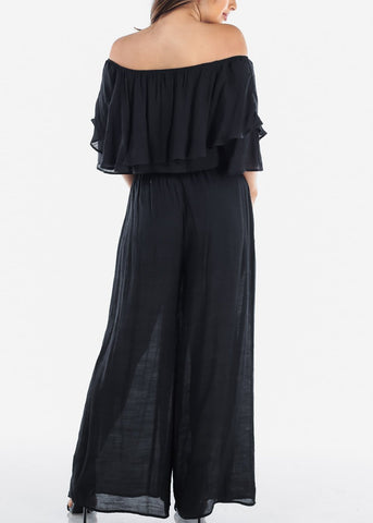 Image of Sexy Lightweight Black Off Shoulder Crop Top And Wide Legged Pants Two Piece Set