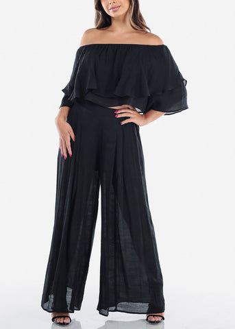 Image of Black Off Shoulder Crop Top & Pants (2 PCE SET)