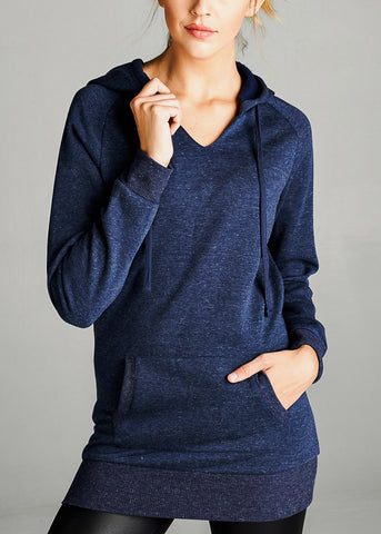 Fleece French Terry Navy Hoodie