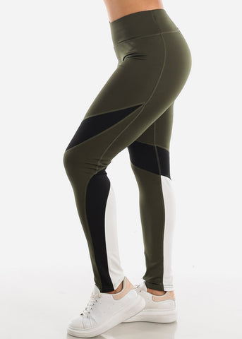 Image of Activewear Olive Colorblock Leggings