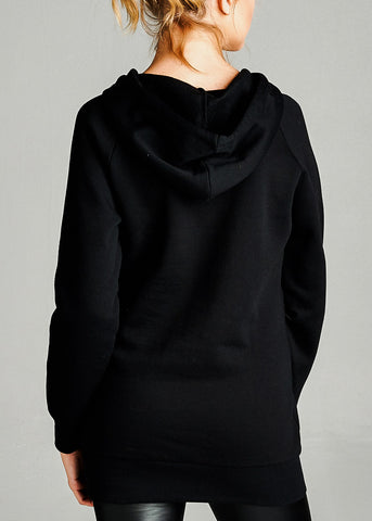 Image of Fleece French Terry Black Hoodie