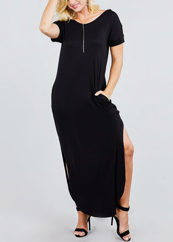Image of V Neck Black Maxi Dress