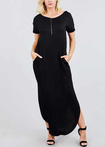 V Neck Black Maxi Dress