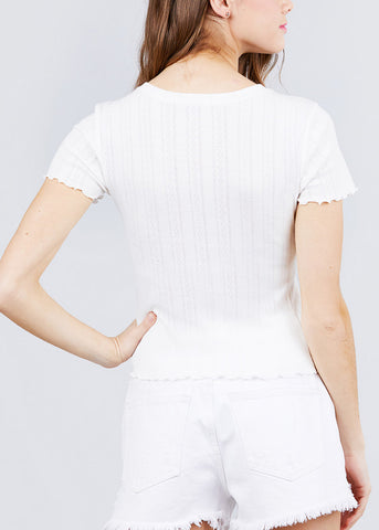 Image of Short Sleeve Pointelle Knit White Top
