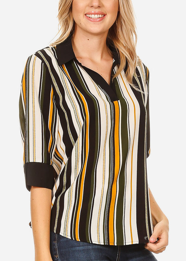 3/4 Sleeve Olive Stripe Blouse