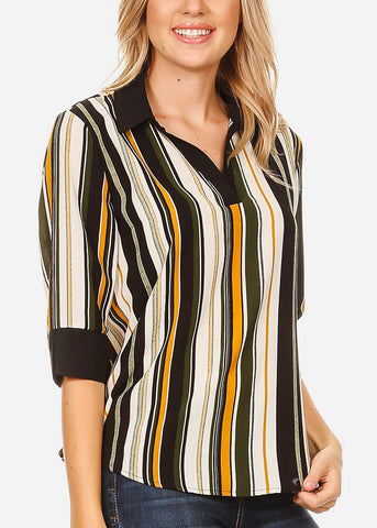 Image of 3/4 Sleeve Olive Stripe Blouse