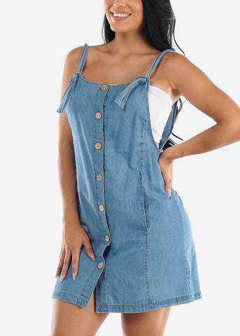 Image of Buttons Front Denim Overall Dress