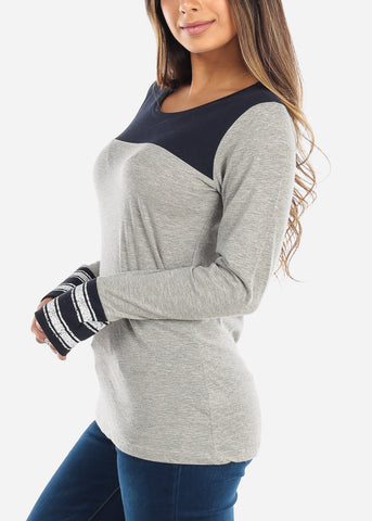 Two Tone Navy Top
