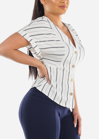 Cute Stylish Lightweight White Button Up Stripe Top For Women Ladies Junior Vacation Summer