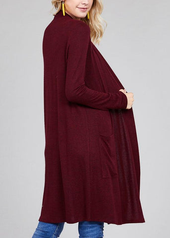 Image of Essential Long Sleeve Open Front Burgundy Maxi Cardigan