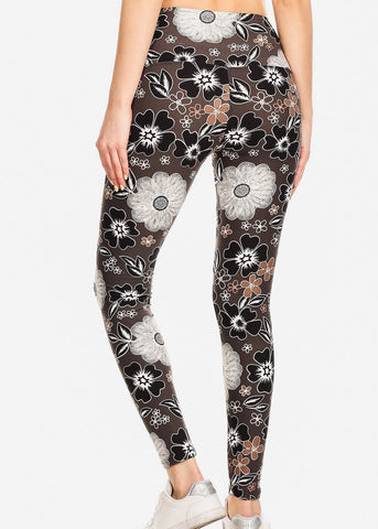 Activewear Floral Charcoal Leggings