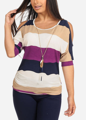 Women's Junior Ladies Casual Going Out Stylish Cute Trendy Multi Color Stripe Cold Shoulder Stretchy Top With Necklace Included