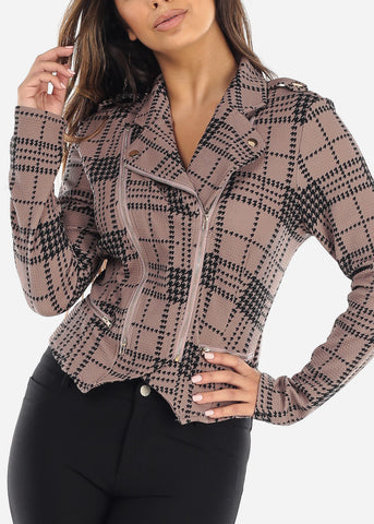 Image of Taupe Houndstooth Moto Jacket