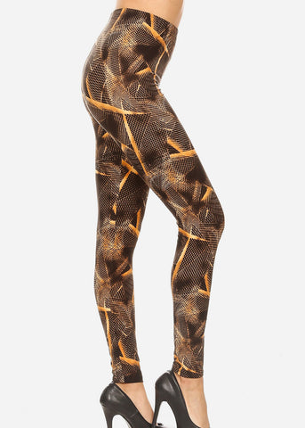 Activewear Black & Brown Printed Leggings