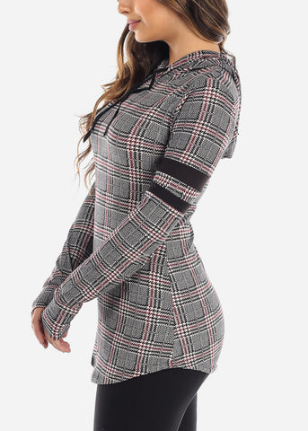 Image of Burgundy Houndstooth Tunic Hoodie