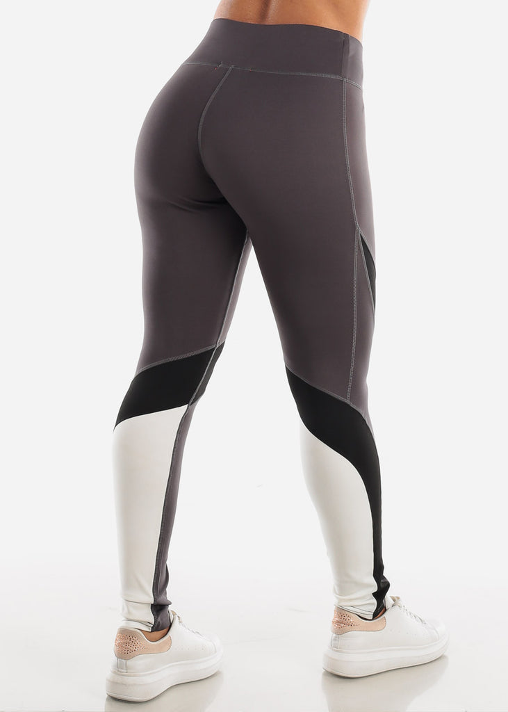 Activewear Dark Grey Colorblock Leggings