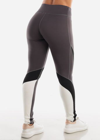 Image of Activewear Dark Grey Colorblock Leggings