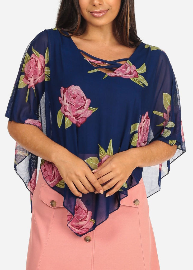 Women's Junior Ladies Sexy Dressy Casual Floral Print Mesh Detail Blue Blouse