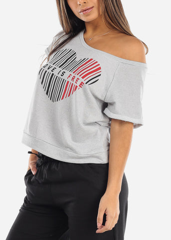 "Image of Graphic Short Sleeve Sweatshirt ""Love Is Free"""