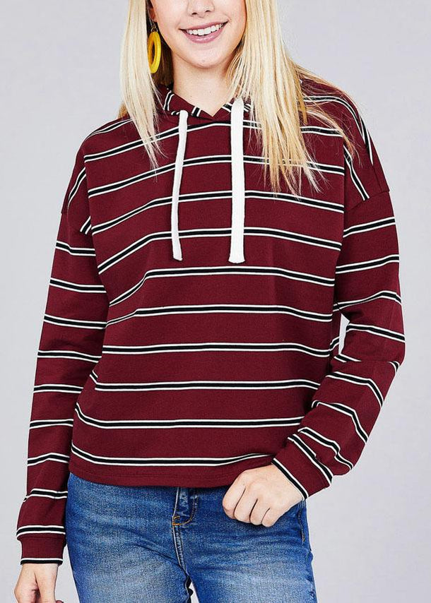 Casual Long Sleeve Burgundy Stripe Pullover Sweatshirt W Hood