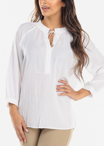 Image of White Tie Neck Blouse