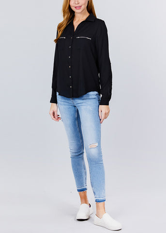 Image of Zipper Detail Black Button Up Shirt