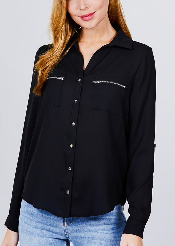 Zipper Detail Black Button Up Shirt