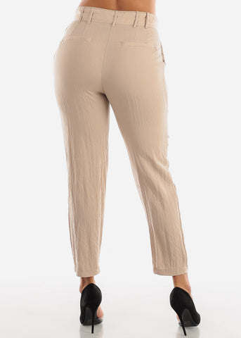 Image of Straight Leg Khaki Belted Pants