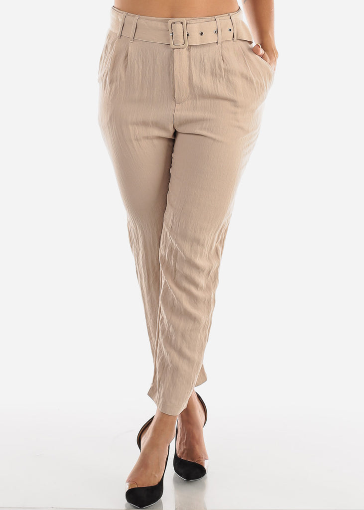 Straight Leg Khaki Belted Pants