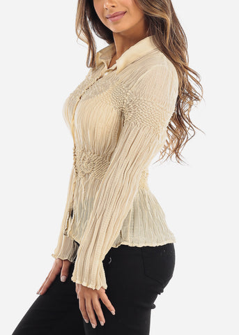 Image of Beige Crinkle Pleated Blouse 513TAUPE