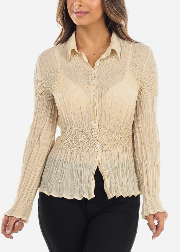 Beige Crinkle Pleated Blouse