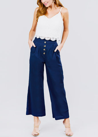 Wide Legged Navy Linen Pants