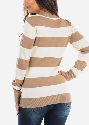 Beige & White Stripe V-Neck Sweater SW235KHKWHT