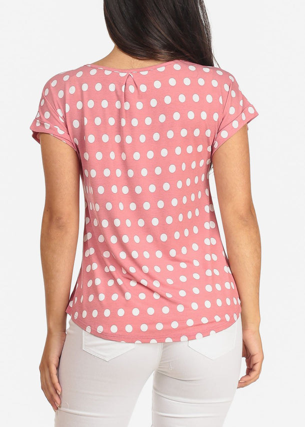 Pink Polka Dot Blouse with Necklace