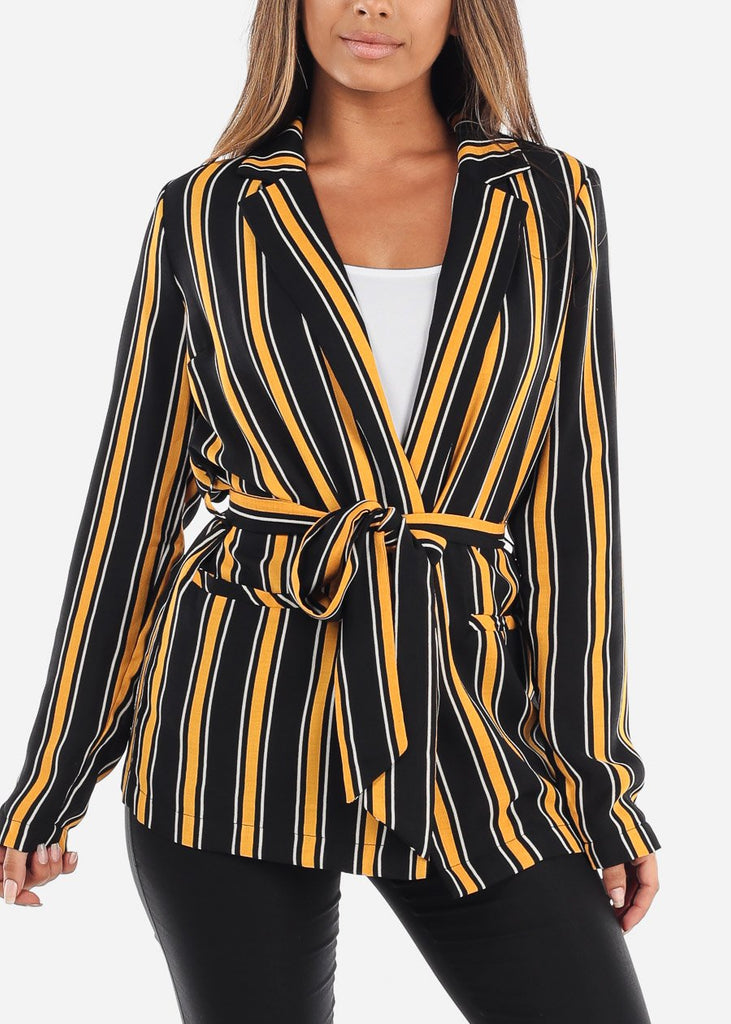Mustard and Black Striped Belted Blazer